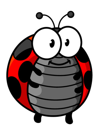 Ladybug cartoon character showing cute smiling red and black spotted bug with little legs, funny antennas and googly eyes for childish decor design Vectores