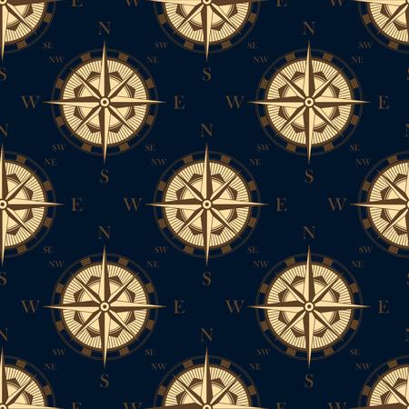 豪華な壁紙や冒険デザインの暗い青色の背景でレトロなスタイルのシームレスなパターンでビンテージ コンパス ローズ