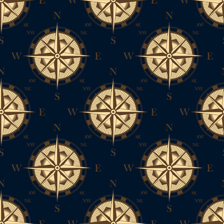 Vintage compass rose in retro style seamless pattern on dark blue background for luxury wallpaper or adventure design