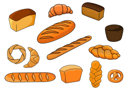 plaited: Bakery products with cartoon loaves of white and brown bread, baguettes, pretzel, croissants, plaited loaves and bagel decorated poppy and til seeds for bakery shop design Illustration