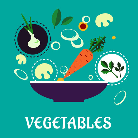 Vegetables flat infographic of cooking vegetarian salad depicting bowl with fresh ingredients carrot, onion with green sprouts, mushroom slices, parsley and spices herbs on turquoise background