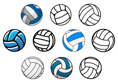 volley: Outline and cartoon leather voleyball balls in blue, white and gray colors isolated on white background for sporting design