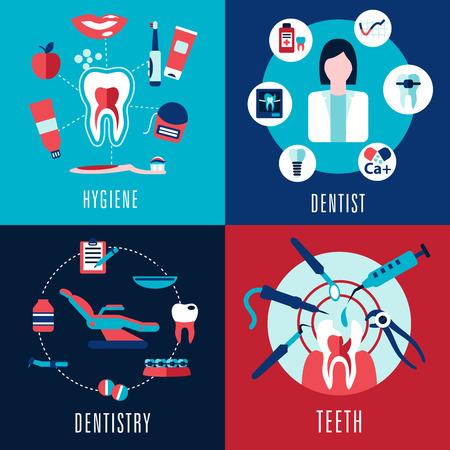 odontologia: Concepto plana Médico con la odontología, dentista, dientes, higiene infografía que muestra mujer médico, secciones transversales de los dientes y la silla dental con tratamientos de iconos Vectores