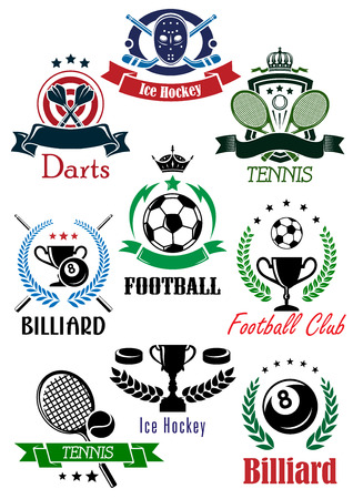 Football club, billiards, darts, ice hockey and tennis heraldic emblems or logo depicting game equipments and trophy cups bordered shield, ribbon banners, laurel wreaths with stars and crowns Vector