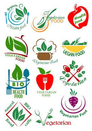 Elementos de diseño de la comida sana vegetarianas incluyendo platos veganos abstractas con las verduras, frutas y hierbas adecuadas para el diseño concepto de nutrición saludable