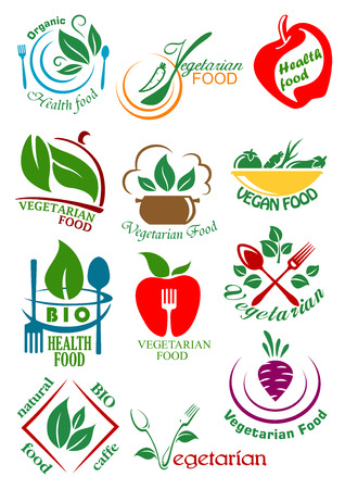 Vegetarian health food design elements including abstract vegan dishes with vegetables, fruits and herbs suitable for healthy nutrition concept design Ilustracja