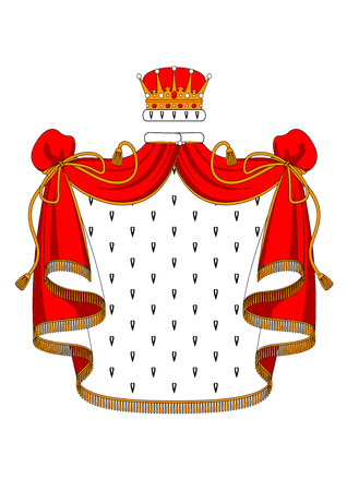 fur coat: Classic medieval golden royal crown inlaid jewels and red velvet mantle with fur, fringe and copy space suitable for heraldry or coat of arm design