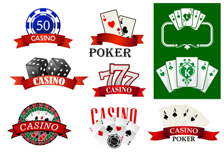 poker chips: Casino emblems or badges depicting poker chips and cards, jackpot lucky seven, roulette decorated ribbon banners with text Casino or Poker for gambling or fortune concept design