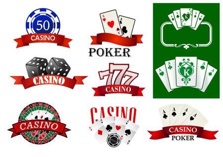ruleta casino: Emblemas o insignias que representan Casino fichas de p�quer y las tarjetas, bote de la suerte siete, ruleta decorada banderas de la cinta con Casino texto o Poker para juegos de azar o fortuna concepto de dise�o Vectores
