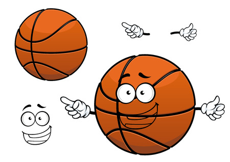 sporting: Basketball ball mascot cartoon character with happy smiling face isolated on white background suitable for sporting team design