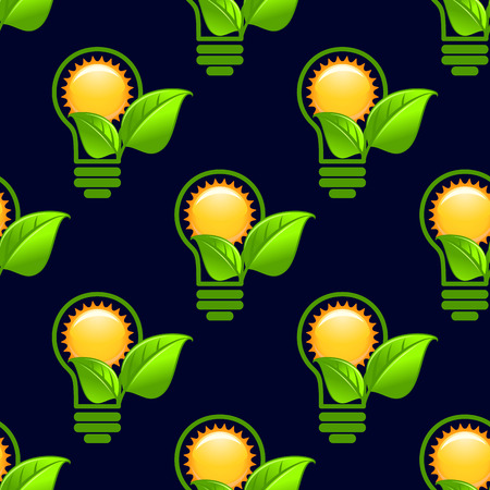 green light bulb: Ecology abstract seamless pattern with repeated motif of the sun inside green light bulb with green leaves on dark blue background for energy saving or eco friendly concept design
