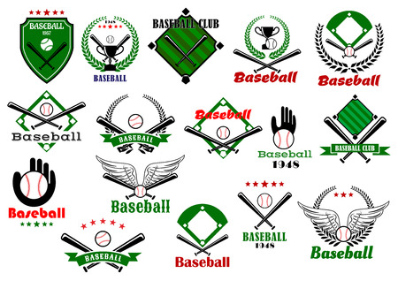 Baseball club or team emblems and logo with balls, bats, gloves, trophy cups framed by baseball fields, wings, stars and heraldic elements Vector