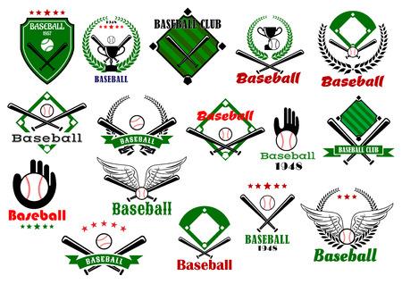 campo de beisbol: Club de béisbol o de equipo emblemas y logo con pelotas, bates, guantes, tazas del trofeo enmarcados por campos de béisbol, alas, estrellas y elementos heráldicos Vectores