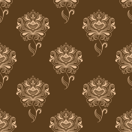 dainty: Oriental traditional paisley floral seamless pattern with dainty beige flowers ornate decorated pointed leaves and swirls on brown background for wallpaper or textile design
