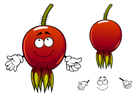 prickly fruit: Briar fruit cartoon character depicting smiling glossy red berry with yellow perianth and prickly green stalk for healthy nutrition or herbal medicine concept design Illustration