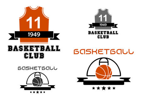 number 11: Basketball club emblems and logo depicting basketball court with ball and uniform jersey with number 11 decorated ribbon banners and stars in orange and gray color designs Illustration