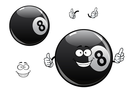 Smiling cartoon billiards, snooker or pool eight ball mascot character showing black glossy ball with number 8 and thumb up gesture Vector