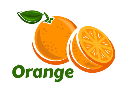 orange slice: Orange fruits poster in cartoon style depicting whole and half of fresh juicy citruses with green stalk and leaf isolated on white background including caption Orange