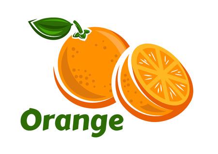 Pomarańczowe owoce plakat w stylu kreskówki przedstawiających całość i połowę świeżych soczystych cytrusów z zielonym łodygi i liści na białym tle, w tym podpisie Pomarańczowy Ilustracje wektorowe