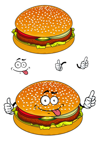 snack cartoon: Happy hamburger cartoon character showing sesame seeds bun with burger patty, cheese and slices of vegetables suited for fast food cafe or restaurant menu design