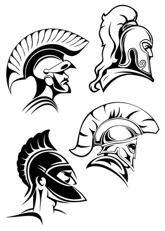 warriors: Heads of spartan warriors or gladiators wearing in traditional helmets with crests and mohawks or plumes in outline sketch style Illustration
