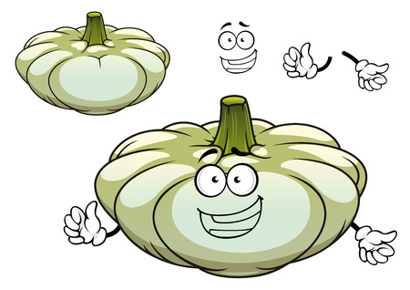 vegetable cartoon: Calabaza Pattypan o personaje de dibujos animados de verduras calabaza con gran tallo verde y la cara sonriente linda para el men� vegetariano o dise�o concepto de nutrici�n saludable Vectores