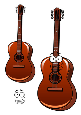 Cheerful six string classic acoustic guitar cartoon character with googly eyes and wide smile for acoustic concert or band design