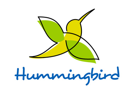 hummingbird: Hummingbird silhouette in doodle sketch style showing flying yellow and green little bird with long thin beak isolated on white background including caption Hummingbird Illustration