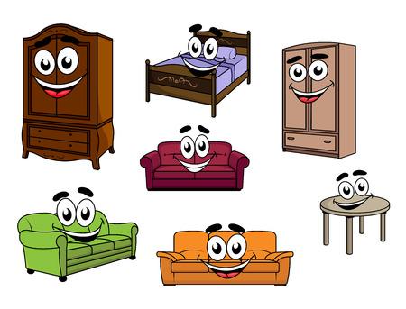 cama: Feliz caracteres de muebles de dibujos animados sonriente que representan sof�s tapizados de colores, armarios de madera y mesa, cama con cabecera tallada y ropa de cama para el dise�o infantil Vectores