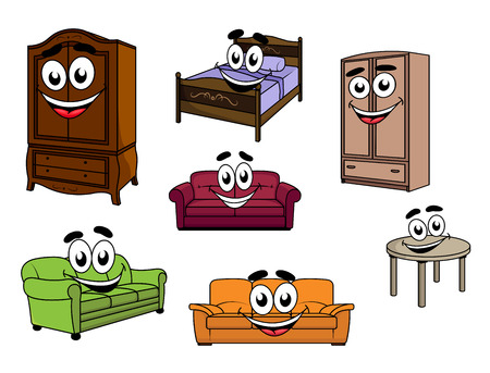 couch: Happy smiling cartoon furniture characters depicting colorful upholstered sofas, wooden cupboards and table, bed with carved headboard and bedding for childish design Illustration