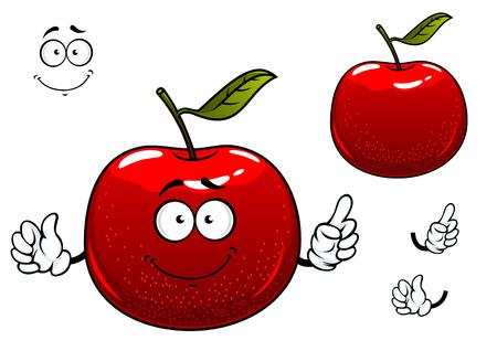 Fresh crunchy red apple fruit cartoon character with glossy peel, green leaf and cheerful smile including second variant with separated elements