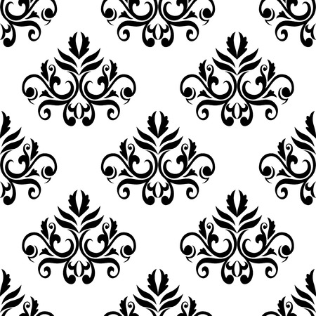 Foliate seamless pattern background in black and white colors with elegant curly leaves and tendrils compositions suited for wallpaper or textile design