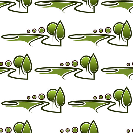 Alleys in spring park seamless pattern with abstract bright green landscapes depicting lawns, trees and bushes on white background for page fill or landscaping concept design Ilustração