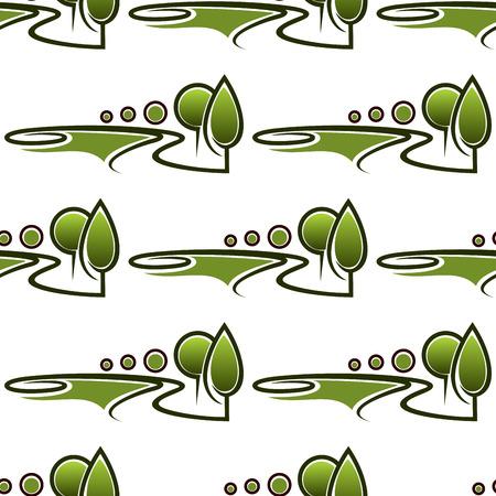 Steegjes in het voorjaar van park naadloze patroon met abstracte heldere groene landschappen beeltenis van gazons, bomen en struiken op een witte achtergrond voor pagina vulling of landschapsarchitectuur conceptontwerp