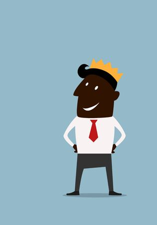 Successful black businessman standing with hands on his waist wearing golden crown in cartoon style for leadership or success concept design Vector