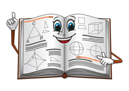 Smiling open textbook cartoon character pointing on a page with geometric shapes suitable for education concept or mathematic lessons design
