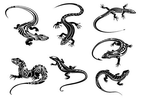 lagartija: Lagartos negros reptiles con colas largas curvas decoradas ornamento geométrico en el estilo tribal adecuadas para el tatuaje o mascota de diseño