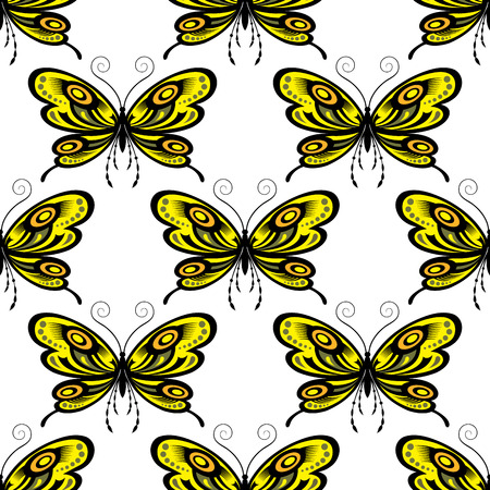 the antennae: Butterflies seamless pattern showing fragile insects with bright yellow and orange tracery open wings and long curly antennae on white background for interior or vinyl cut design
