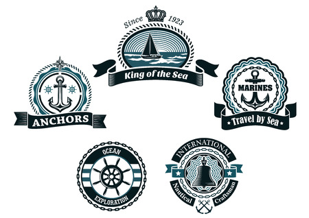 Heraldic nautical retro labels and badges in traditional blue colors depicting ship, anchors, helm, compass and bell framed ropes, chains, waves and ribbon banners