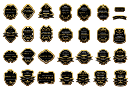 Vintage black and golden label templates, decorated with floral ornament and ribbon banners, for luxury, beverage or food design