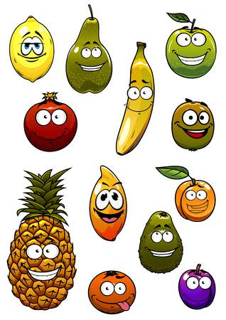 platano maduro: Manzana feliz, plátano, naranja, ciruela, aguacate, piña, limón, pera, kiwi, albaricoque, frutas granada personajes de dibujos animados para el concepto de nutrición saludable o diseño de concepto vegetariano