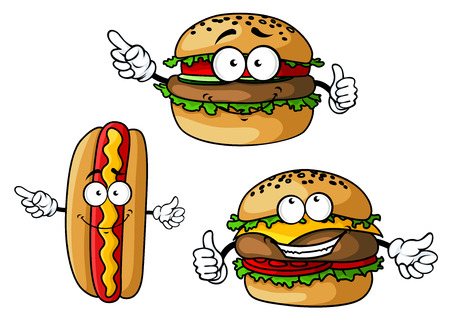 white dog: Funny hamburgers and hot dog cartoon characters with appetizing patties, sausage, vegetables, cheese and mustard isolated on white background for fast food cafe or restaurant menu design