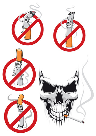 Smoking kills and no smoking concepts in cartoon style with cigarettes in prohibition signs and spooky skull with cigarette for healthcare concept design Illustration