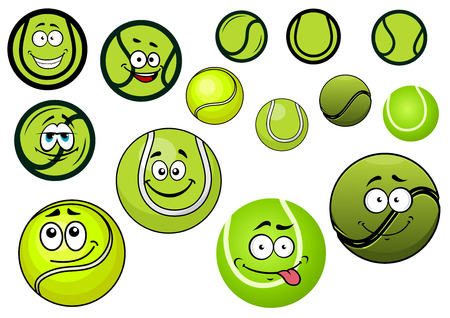green face: Cute green tennis balls mascots cartoon characters with black and white wavy lines and second variant without smiley face for sporting competition design