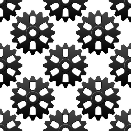 engeneering: Mechanical cogwheels black and white sesamless background pattern with repeated motif of gear wheels suitable for engeneering or motion concept design