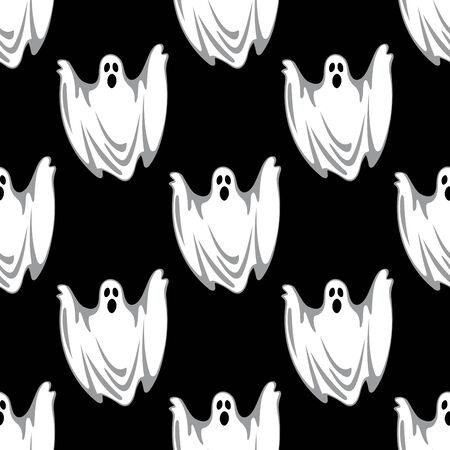 Flying scary ghosts seamless pattern in cartoon style on black background suited for Halloween party decor design Illustration