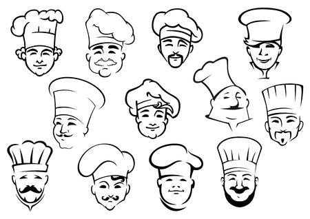 panadero: Chefs multi�tnicos en toques profesionales uniformes en el estilo de dibujo del doodle adecuados para el personal de cocina del restaurante de dise�o Vectores