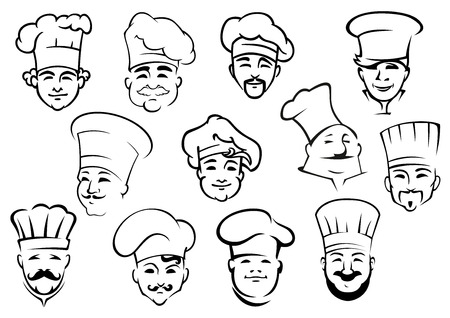 food industry: Multiethnic chefs in professional uniform toques in doodle sketch style suitable for kitchen staff of restaurant design Illustration