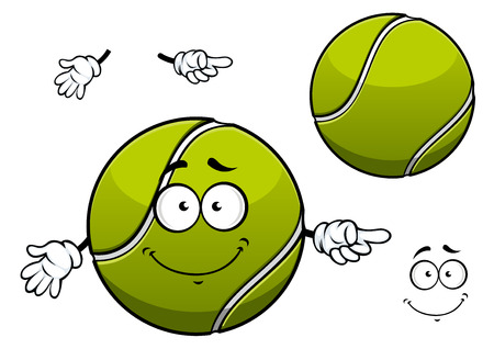 sporting: Cheerful cartoon tennis ball character depicting green ball with white wavy line and cute smile for sporting mascot or childish design