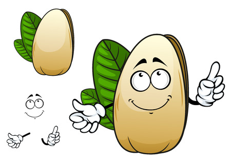 pistachio: Smiling pistachio cartoon character depicting dry open nut in smooth and strong shell with green leaves behind suitable for healthy nutrition or vegetarian design